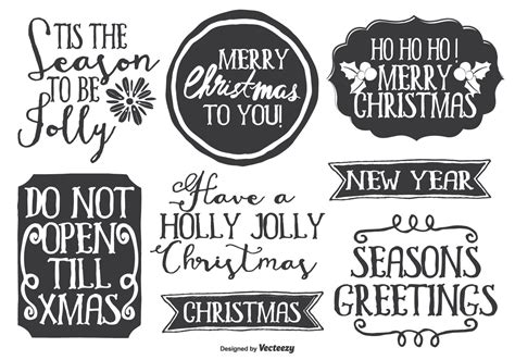 Cute Messy Hand Drawn Style Christmas Label Set - Download