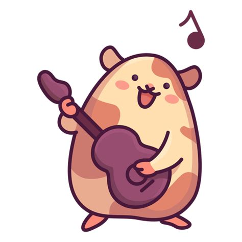 Cute hamster playing guitar illustration - Transparent PNG