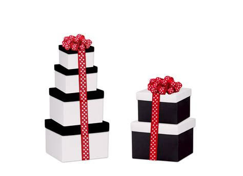 Black and White Gift Boxes with Lids - Box and Wrap