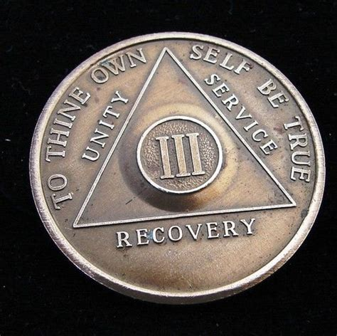 Rare Alcoholics Anonymous Vintage 3 Year AA BACK Medallion
