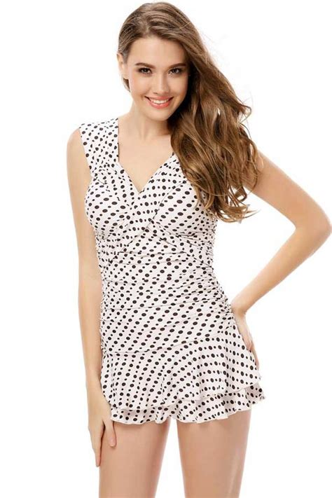 Black White Polka Dot Tiered Ruffle One Piece Swimsuit