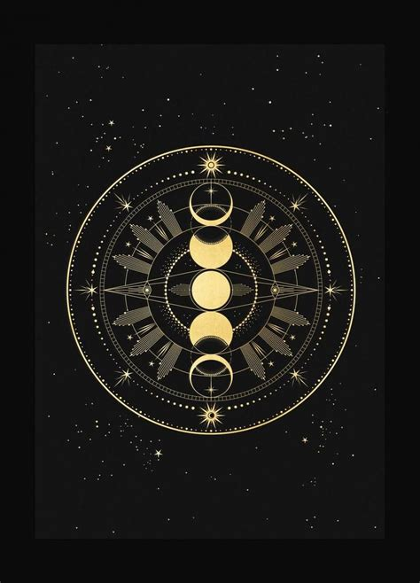 Moon Phase Totem art print in gold foil and black paper