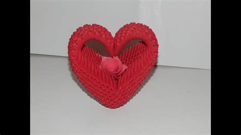 How to make 3D Origami Heart model2 part1 - YouTube