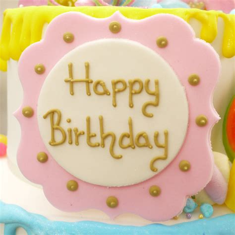 Happy Birthday Sugar Plaque In White, Pink And Gold