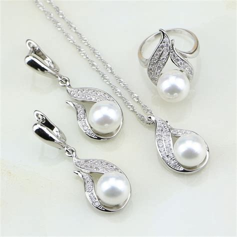 Fire 925 Silver Jewelry White Imitation Pearl Cubic